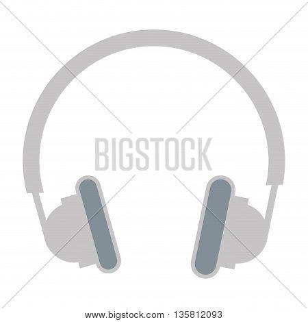 grey flat design headphones icon vector illustration
