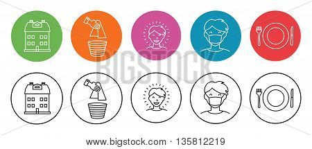 Set of simple flat icons on home and hygiene man in hygiene mask healthy and happy character house plate with fork and knife and paper towel