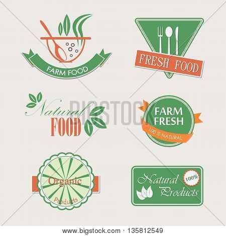 Labels badges and elements for organic food