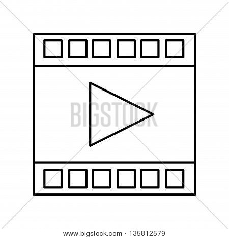 simple black line film strip with play vector illustration