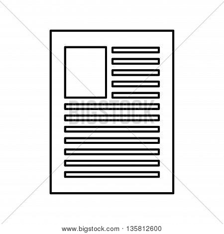 simple black line of sheet of paper with lines on it vector illustration