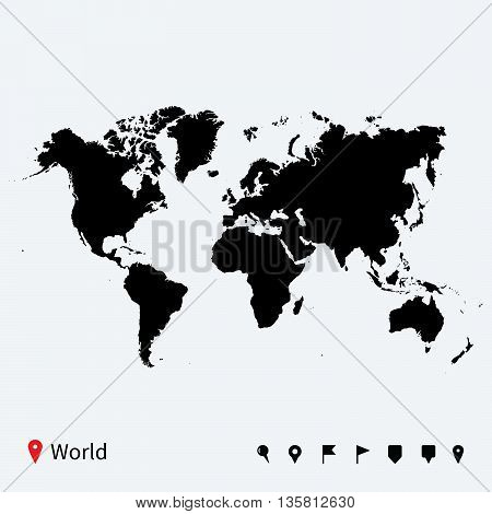 High detailed vector map of World with navigation pins. Isolated on white background