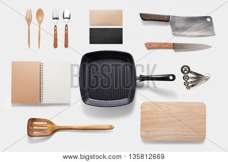 Design Concept Of Mockup Arious Kitchenware Utensils Set On White Background. Copy Space For Text An