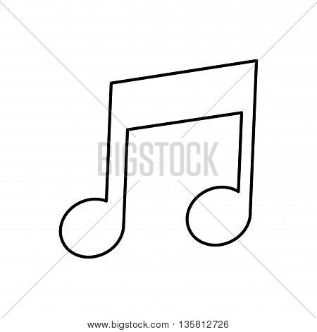 simple black line musical eighth note icon vector illustration