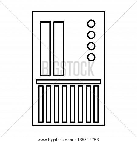 simple black line sd card icon vector illustration