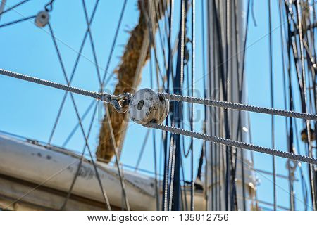Rigging on a ship in black and white.