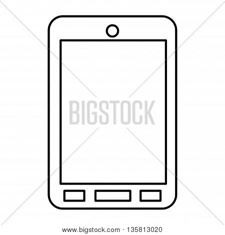 simple black line cellphone with buttons vector illustration