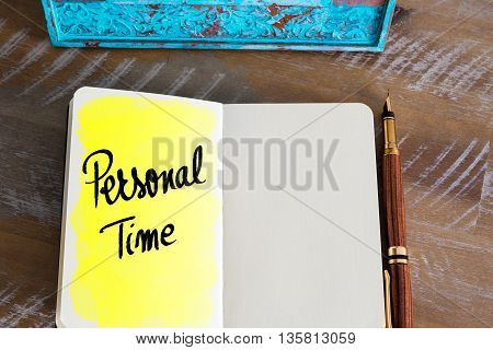 Text Personal Time handwritten over notebook, copy space available