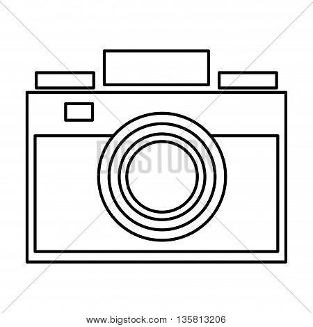 simple black line photographic camera vector illustration