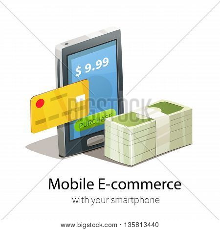 Mobile e-commerce concept. Smartphone, plastic credit card and money. Isolated on white background.