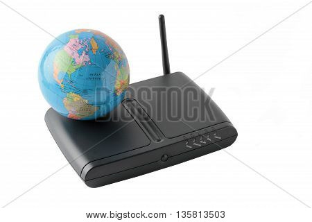 terrestrial globe over a black router isolated on white background