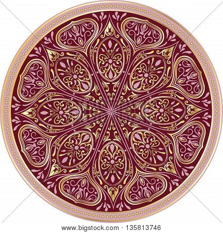 Drawing of a floral mandala in turquoise, maroon and gold colors on a white background