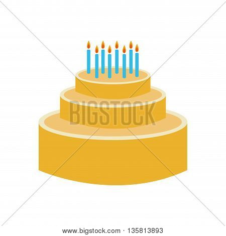 colored birthday cake with candles on top vector illustration