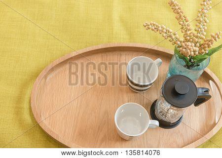 Set Of Tea On Wooden Tray
