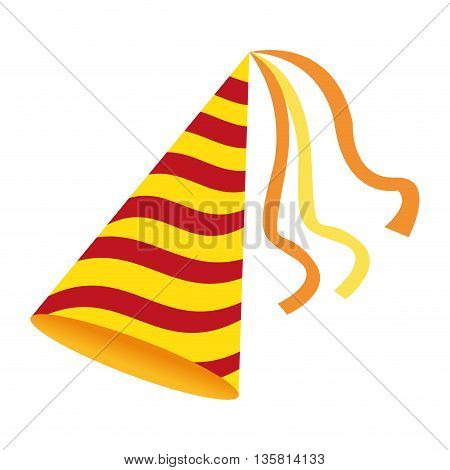 yellow red striped birthday party hat vector illustration