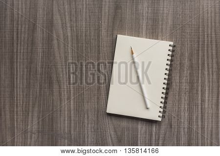 White Pencil With Blank Notebook