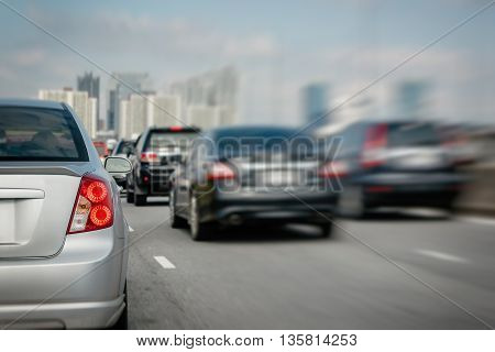 Traffic On Express Way, Cars With High Speed