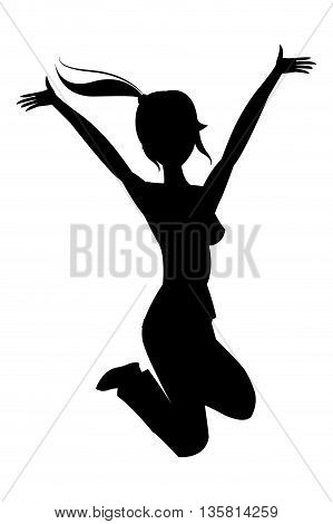 black silhouette woman jumping with raised arms vector illustration
