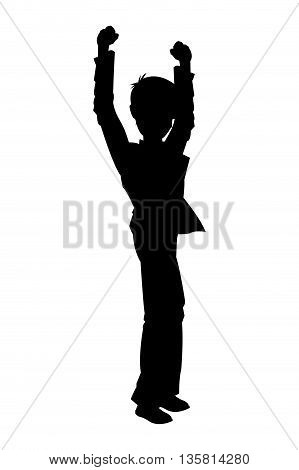 silhouette of man raising arms icon vector illustration