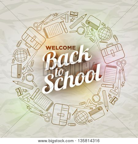 Vector Back to School text and school supply icons on wrinkled paper.