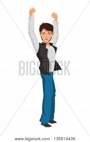 black hair man raising arms sideview icon vector illustration