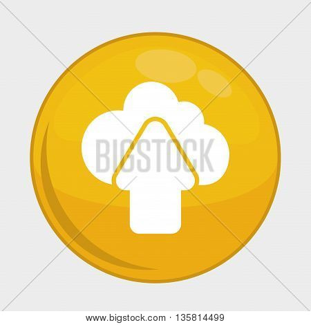 Social Media button represented by upload multimedia app . Colorfull and isolated illustration