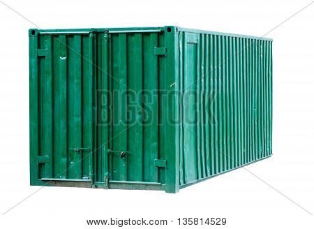 green metal container isolated on white background