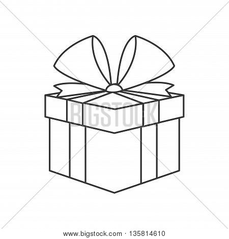 simple black line gift box with bow on top vector illustration