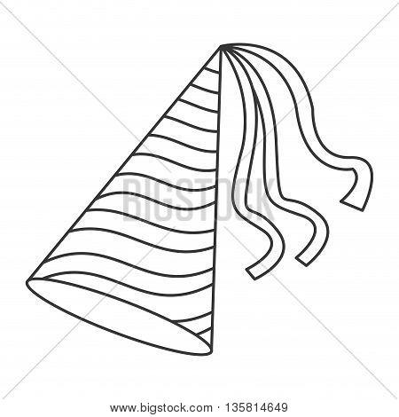 simple black line birthday party hat vector illustration