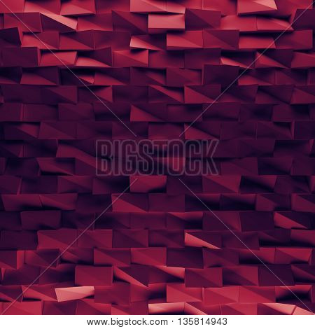 Vinous abstract squares backdrop. 3d rendering geometric polygons, as tile wall. Interior room