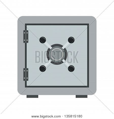 grey flat design safe box icon vector illustration