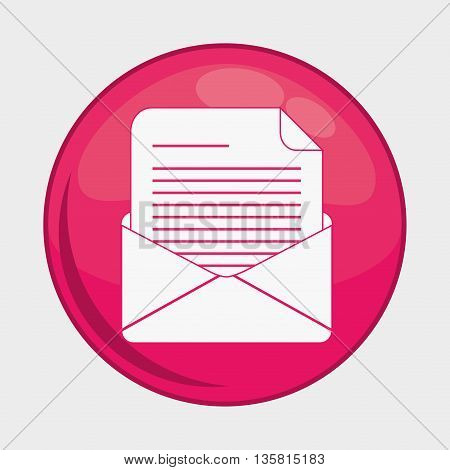 Social Media button represented by envelope multimedia app . Colorfull and isolated illustration