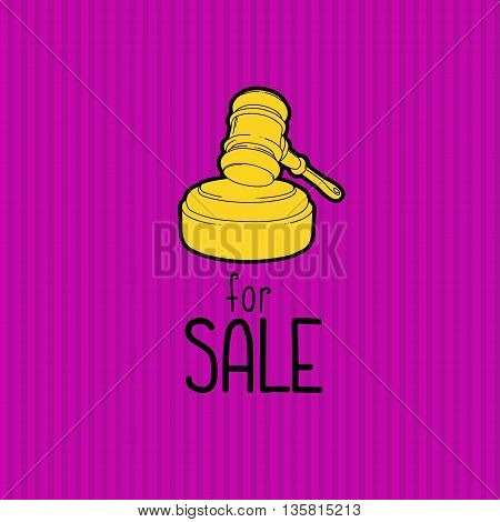 Gold gavel - hammer of judge or auctioneer. Big sale advertisement. Color illustration on purple background.