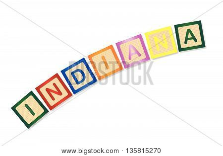 A collection of wooden block letters spelling Indiana over a white background