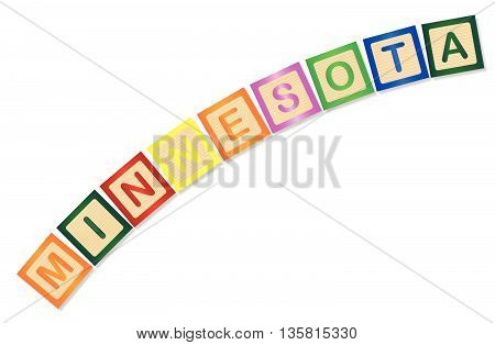 A collection of wooden block letters spelling Minnesota over a white background