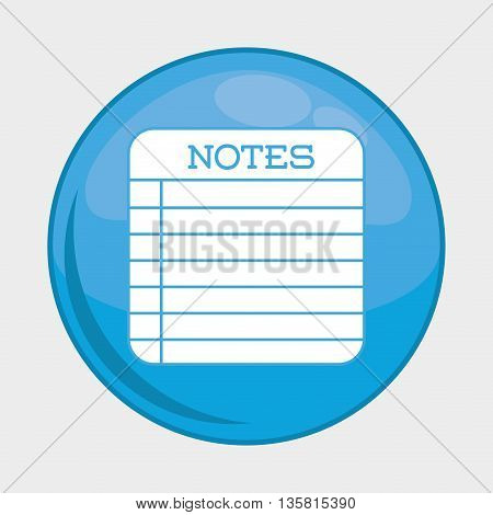 Social Media button represented by notes multimedia app . Colorfull and isolated illustration