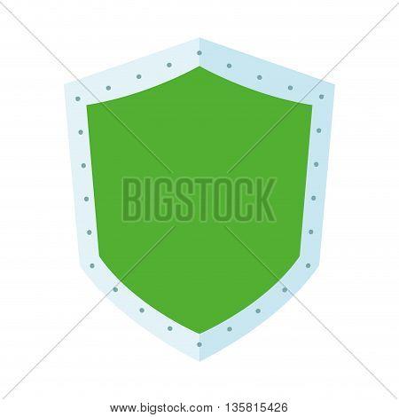 flat design of green shield icon vector illustration
