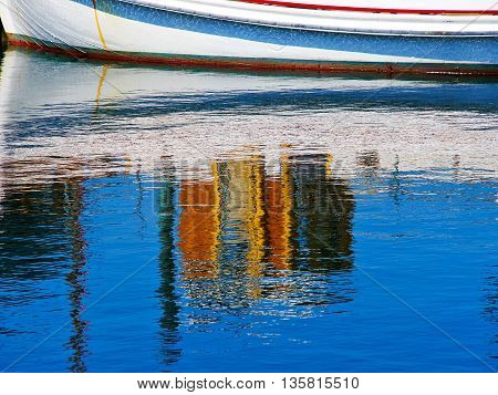 Reflection of a sale boat in the sea sailing sport background image