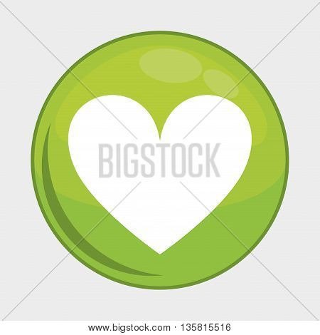 Social Media button represented by heart multimedia app . Colorfull and isolated illustration