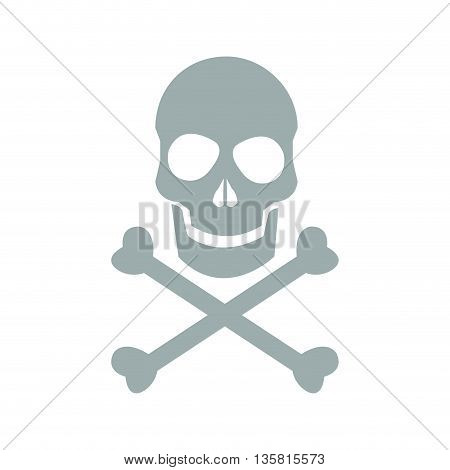 flat design skull and bones danger icon vector illustration