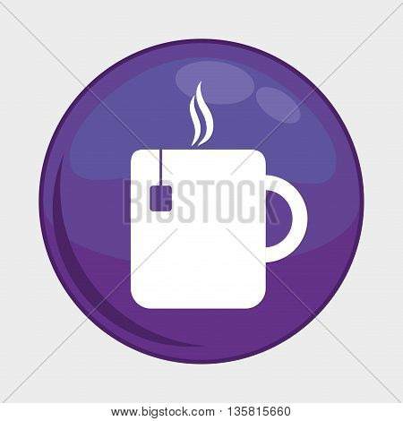 Social Media button represented by tea mug multimedia app . Colorfull and isolated illustration