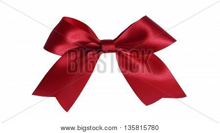 Shine  satin red ribbon on white background