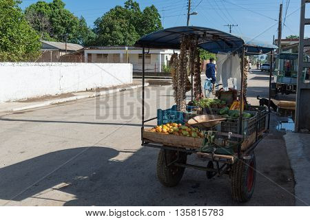 HAVANA, CUBA -JUNE 27, 2015: Cuban street vendor in Havana city