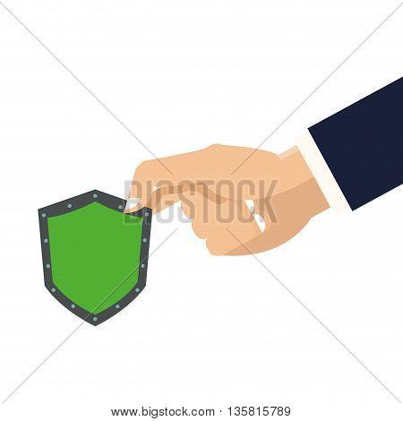 flat design of hand holding shield icon vector illustration