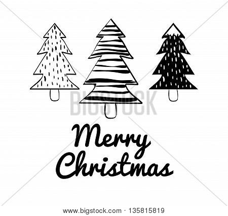 Merry Christmas and happy holidays concept represented by pine tree icon. black, white and  flat illustration