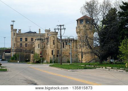 JOLIET, ILLINOIS / UNITED STATES - MAY 3, 2015: The old Illinois State Penitentiary, now vacant and abandoned, in Joliet.
