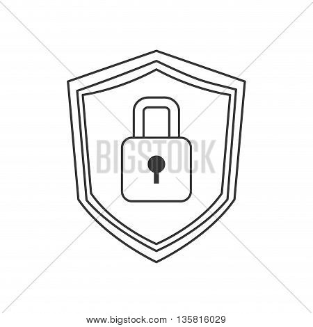 simple black line shield with lock in the center vector illustration