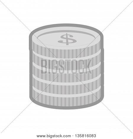 simple black line coin stack icon vector illustration
