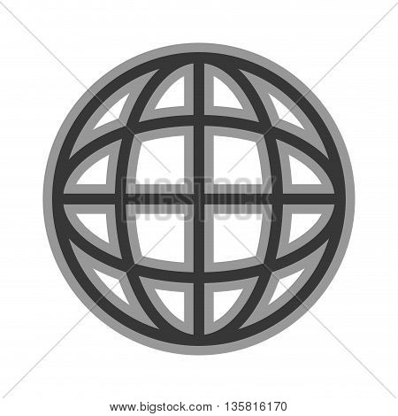 simple line design of earth globe diagram with latitude and parallel icon vector illustration