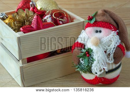 Christmas box decorations. Rustic style colored picture. Merry Christmas!